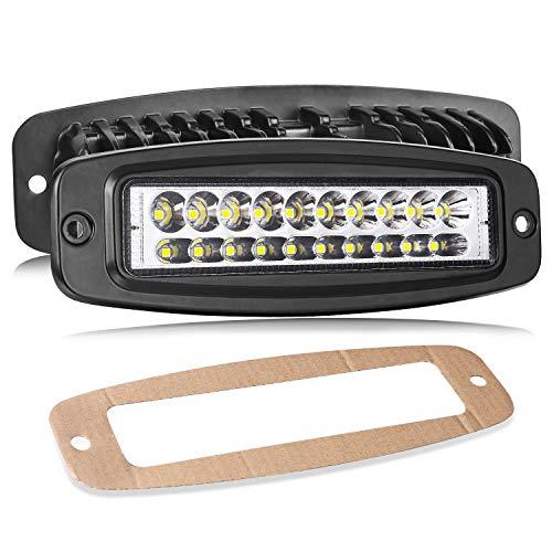 LED Pods Lights Flush Mount, Teochew-LED 2 Pack 7 Inch 80W Off Road Flush Mount Light Bar CREE LED Driving Light Work Light Flush Spot Lights for Trucks Jeep Tractors ATV UTV 4X4, 2 Years Warranty ()