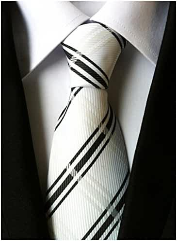 Allbebe Men's Classic Striped Black White Jacquard Woven Silk Tie Formal Necktie