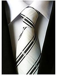 Secdtie Men's Black White Striped Checks Jacquard Woven Silk Tie Formal Necktie