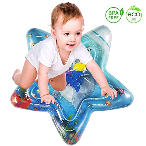 Monocho Inflatable Baby Water Play Mat, Leak-Proof Tummy Time Mat BPA Free Premium Water Cushion for Infants Fun Activity Center Play Toy (Pentagram)