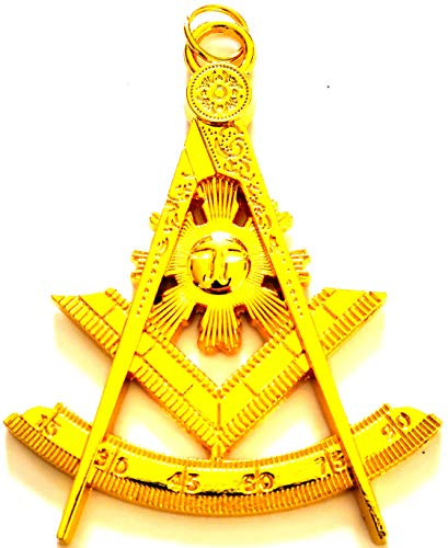 (DEURA Past Master Mason Masonic Collar Jewel Square & Compass Gold Plated)