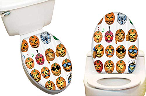 Toilet seat Sticker Carved Pumpkin with Emoji ces Halloween Humor Hipster Msters Harvest Toilet Seat Sticker Vinyl Toilet Lid Decal Decor 14