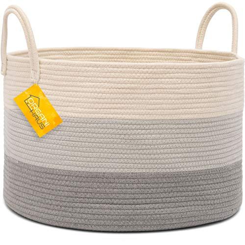 (OrganiHaus XXL Cotton Rope Basket | Wide 20