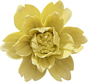 ALYCASO Peony Ceramic Flower Wall Décor Artificial 3D Flower Wall Art for Living Room Home Hallway Bedroom Kitchen Farmhouse Bathroom Dining Room, Yellow, 3.54 inch