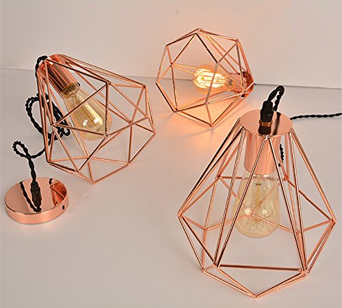 Vintage industrial rose gold pyramid metal cage pendant light hard efinehome vintage industrial rose gold pyramid metal cage pendant light hard wired 1 light ceiling lamp loft mozeypictures Choice Image