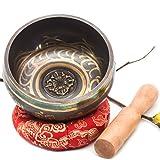Tibetan Singing Bowl Set With Mallet & Silk Cushion Om Mani Padme Hum For Meditation, Chakra Healing, Prayer ,Yoga, and Mindfulness Made in Nepal (4 Inch)