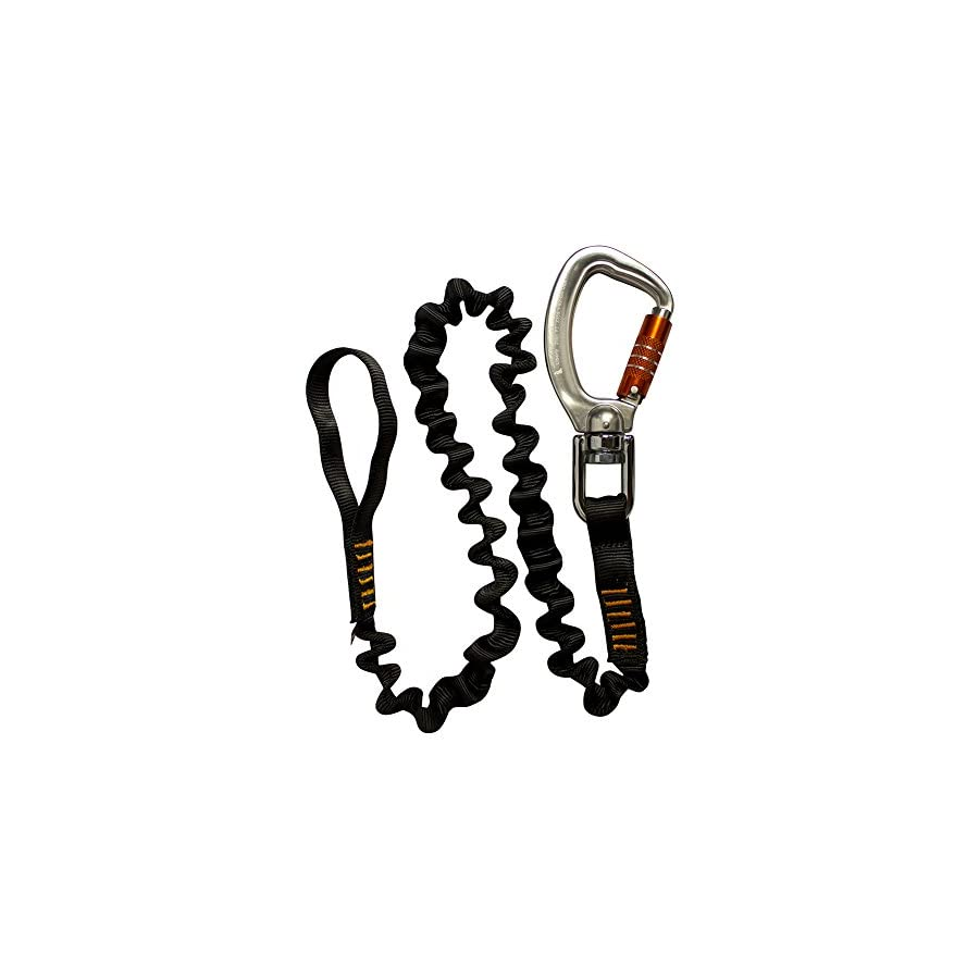 """Fusion Tactical 4ft 48""""x1"""" Internal Elastic Bungee Military Police Personal Retention Helo Lanyard with Swivel Carabiner Flat Loop 23kN Black"""