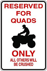 """9""""x12"""" Aluminum quads 4 wheeler others crushed novelty parking sign for indoors or outdoors"""