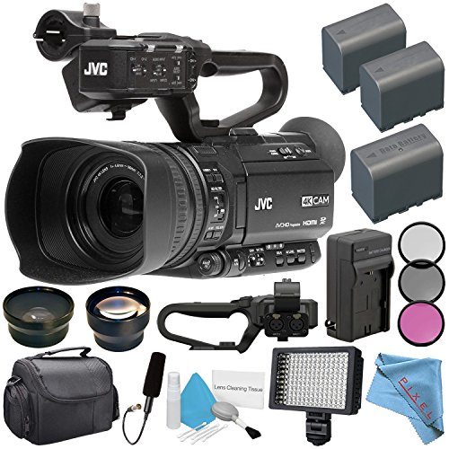 JVC GY-HM180 GY-HM180U Ultra HD 4K Camcorder + BNV-F823 Replacement Lithium Ion Battery + External Rapid Charger + 62mm Wide Angle Lens + 62mm 2X Lens + JVC QAN0067-003 Microphone Bundle (Jvc Camera Sports)