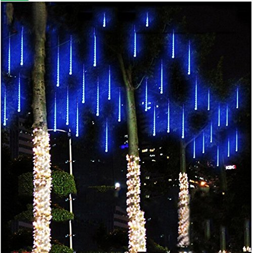 Amicool Meteor Shower Lights, Falling Rain Lights/Icicle Snow String Lights with 30cm 8 Tubes 144 Waterproof LEDs for Wedding Party Holiday and Christmas Decorations(blue)