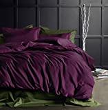 Plum King Size Duvet Covers Eikei Solid Color Egyptian Cotton Duvet Cover Luxury Bedding Set High Thread Count Long Staple Sateen Weave Silky Soft Breathable Pima Quality Bed Linen (King, Deep Plum)