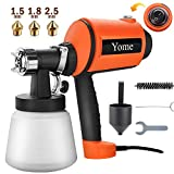 Paint Sprayer 830ml/min, Yome Electric Spray Paint Gun with Three Spray Patterns, Three Copper Nozzle Sizes, Adjustable Valve Knob, Two 900ml Detachable Containers for Painting Projects, Orange
