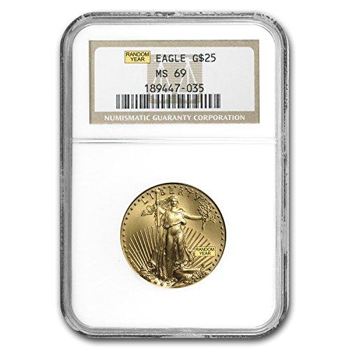 1986 – Present 1/2 oz Gold American Eagle MS-69 NGC (Random Year) 1/2 OZ MS-69 NGC