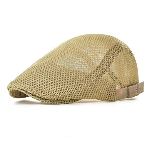 VOBOOM Men Breathable mesh Summer hat Adjustable Newsboy Beret Ivy Cap Cabbie Flat Cap MZ124 (Khaki)