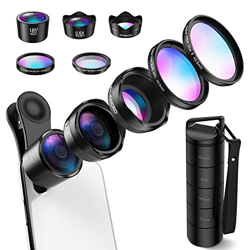 (Upgraed) Phone Camera Lens, 5 in 1 Cell Phone Lens Kit, Macro Lens, Wide Angle Lens, Fisheye Lens, CPL, Starburst Lens for iPhone X 8 7 Plus, Samsung, Smartphones(New Old Package Randomly Sent)