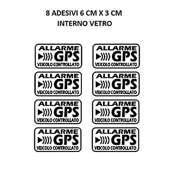 stickerslab - Adhesivos de Alarma GPS antirrobo por Satélite para Evitar EL Robo Auto Moto Camión, Caravana (cantidad - 8 Unidades (6 x 3 cm)): Amazon.es: ...