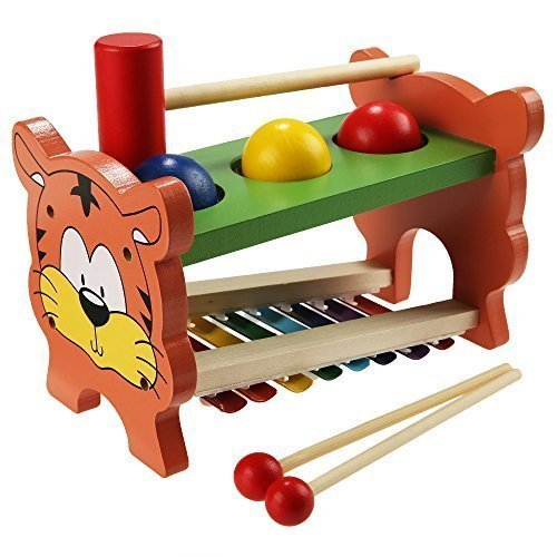 Arshiner Wooden Toys Pound And Tap,Tap Bench with Slide out Xylophone, Kids Wooden Educational Development Music Toy