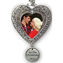"First Christmas Ornament - Silver Filigree Heart Shaped Photo Ornament with a Hanging Charm that Reads ""Our First Christmas 2017"" - Christmas Photo Ornaments"