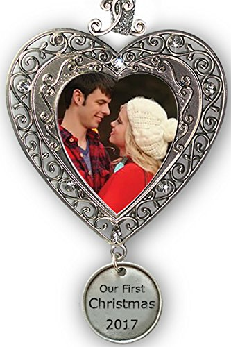 First Christmas Wedding Ornament (Our First Christmas Ornament 2017 - Silver Filigree Heart Shaped Photo Ornament with a Hanging Charm that Reads