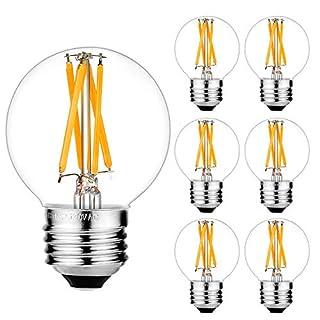 LiteHistory Dimmable E26 Edison Bulb G16.5 Light Bulb 6W Equal 60 watt Light Bulb AC120V Warm 2700K E26 Light Bulb for Pendant,Chandeliers,Vanity,Wall scones Edison Light Bulbs 60 Watt 600lm 6Pack