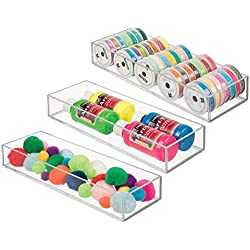"""mDesign Stackable Drawer Organizer Storage Bin Tray - Holder for Craft, Sewing, Hobby, Art Supplies in Home, Classroom, or Studio - Durable Shatter-Resistant Plastic - Long, 12"""" - Pack of 3, Clear"""