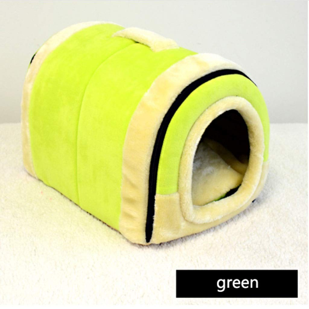 Green Small Green Small Barry-L Dog Bed Cat Bed Kennel Removable And Washable Pet Nest Dual-use Nest Winter Pet Bed Cat Litter Pet Pad Pet Supplies Pet Bed (color   Green, Size   S)