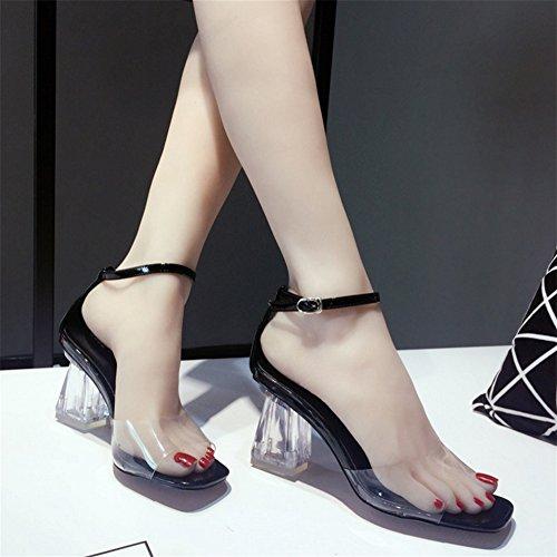 Trasparente Open Toe Fibbia Cristallo Sandali Alto Transparent Tacco Bocca Donna Sexy Summer 38 Pesce Nvxie 34 Di Spesso Fashion 0vEEwz