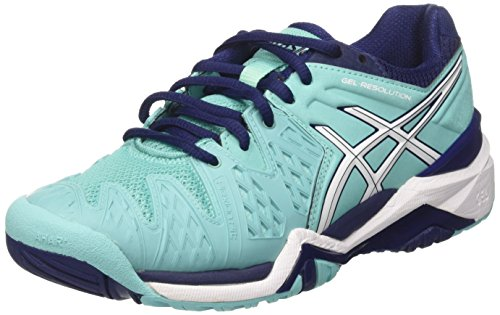 Asics Damen Gel-Resolution 6 W Tennisschuhe, Violett Mehrfarbig (Pool Blue/White/Indigo Blue 3901)