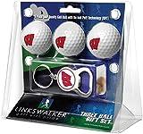 LinksWalker NCAA Wisconsin Badgers - 3 Ball Gift Pack with Key Chain Bottle Opener