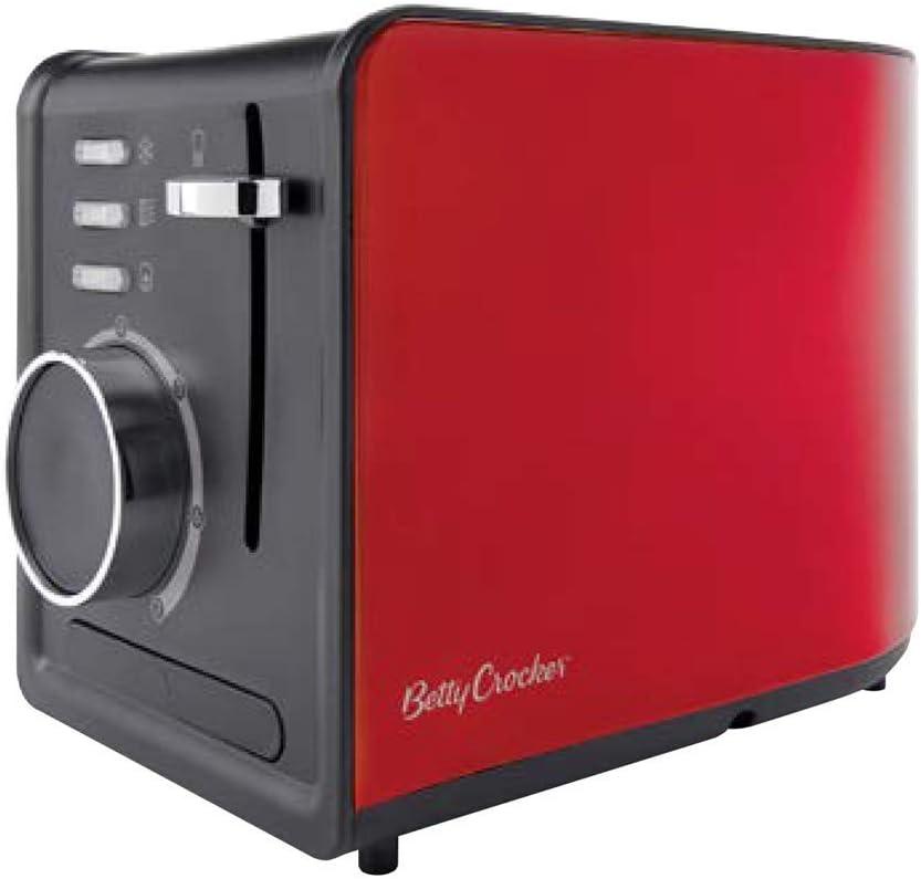 Betty Crocker BR-603 2 Slice Toaster, Metallic Red (Renewed)