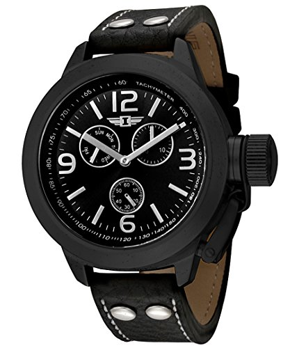 I By Invicta Men's 70113-003 Multi-Function Black Ion-Plated Leather Watch
