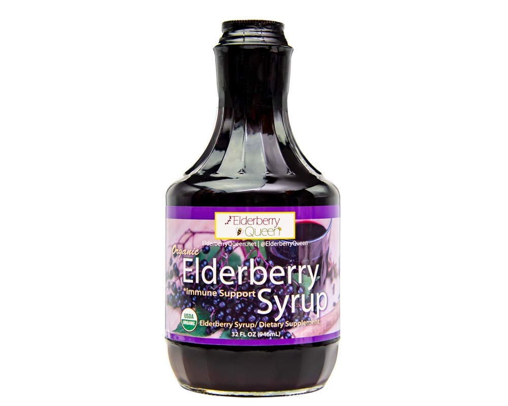 Organic Elderberry Liquid Syrup by Elderberry Queen- Sambucus, Aronia Berry, Pure Natural Certified Organic Immune Support Herbal Supplement (32oz) by Elderberry Queen (Image #1)