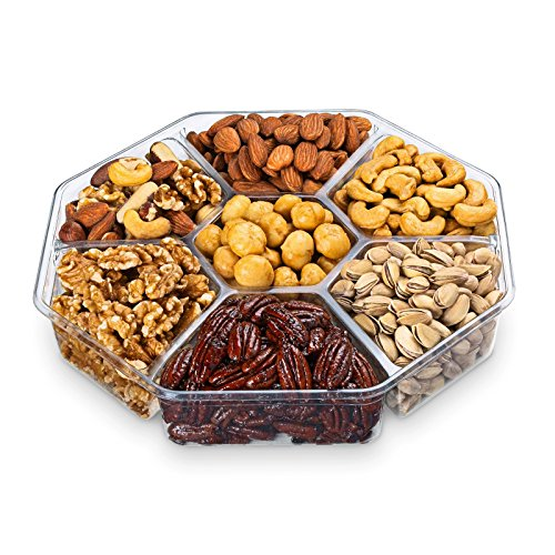 Chocolate Decor Assorted Deluxe Roasted Nuts Large Gift Basket Tray - 7 Section -