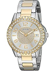 GUESS Womens Stainless Steel Crystal Casual Watch, Color: Silver/Gold-Tone (Model: U0779L4)