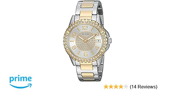Amazon.com: GUESS Womens Silver and Gold-Tone Crystal Accent Watch: Watches