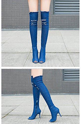 Minetom Damen Herbst Fischkopf Peep-toe Stiletto Absatz Knie Stiefel Stretch Denim Stiefeletten Oberschenkel Hohe Sandalen Boots Blau