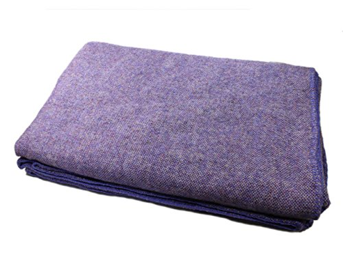 "Kerry Woollen Mills Wool Blanket Heavy Large King Sized 90"" Wide by 108"" Long Finished Edges Multiple Colors 100% Lambswool Soft & Warm Lupin Purple Made in Ireland"