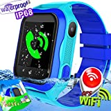 Kids Smart Watch IP67 Waterproof WiFi GPS Tracker with SIM Card Slot SOS Camera for Boys Girls Back to school Smartwatch Phone watch Game watch Electronic Learning Toys Birthday Gift (A-Blue)
