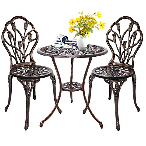 HOMEFUN Bistro Table Set, Outdoor Patio Set 3 Piece Table and Chairs, Tulip Carving and Weather Resistant (Antique Bronze) (Wrought And Set Chair Table Iron)