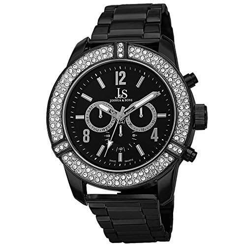 Joshua & Sons Men's JS81BK Black Multifunction Swiss Quartz Watch with Crystal Accented Bezel and Black Dial With Black Bracelet