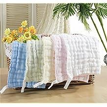 5 Pieces Ultra Soft Cotton Baby Handkerchief Newborn Infant Gauze Bath Shower Cloths Towels Bibs,100% Cotton (6 Layers 5 Colors)