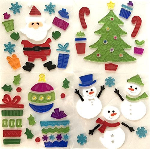 Christmas Window Clings - Holiday Christmas Gel Clings: Santa Claus Tree Snowmen Snowflake Decorations for Home Office Windows Mirrors and More!