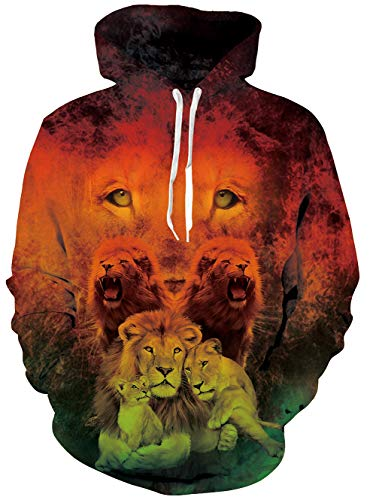 RAISEVERN Adult 90s Long Sleeve Drawstring Family Printed Fleece Pullover Hoodie Sweatshirt with Pockets,2018 Style Lion,X-Large ()