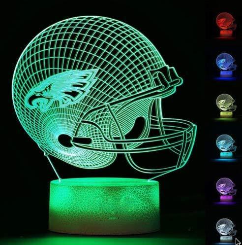 Football Helmet Light - Touch Control Football Team Light Lamp- 7 Color Changing Touch Light Lit Base - Night Light for Boys Men Women for Football Sports Lovers (Philadelphia Eagles) ()