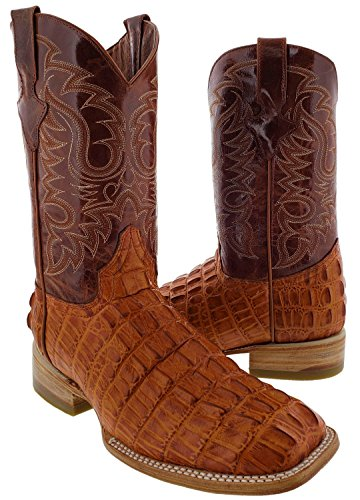 Team West - Men's Cognac Crocodile Tail Design Leather Cowboy Boots Square 10 E US