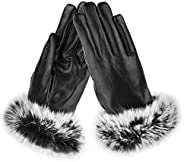 Women's Touchscreen Gloves, Ulstar Lady Winter Windproof Gloves PU Leather Gloves for W