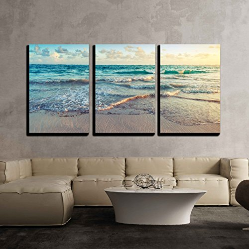Colorful Sunrise Landscape on Atlantic Ocean Coast Dominican Republic Punta Cana x3 Panels