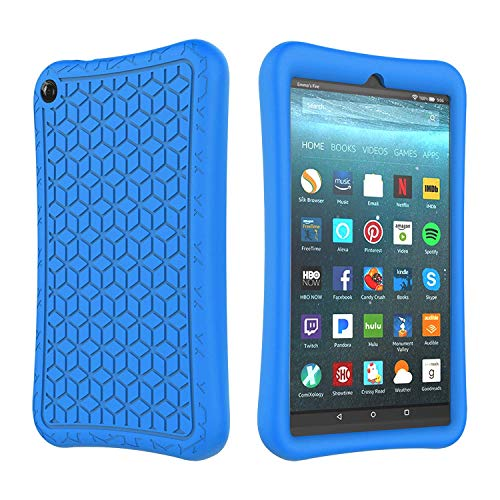 SUPWANT Silicone Case for All-New Fire 7 2019 - Light Weight Shockproof Kid Proof Protective Case Back Cover for Amazon Fire 7 Inch 2019 Tablet (9th Generation - 2019 Release) , Blue (Window 7 Tablet)