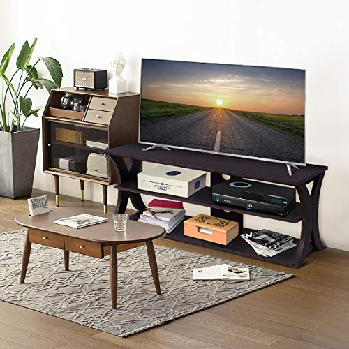 Tangkula TV Stand 3-Tire Universal TV Stand Storage Console with Storage Shelves for Home Office Sturdy Stable Construction Display Cabinet TV Entertainment Center Console Wood Top