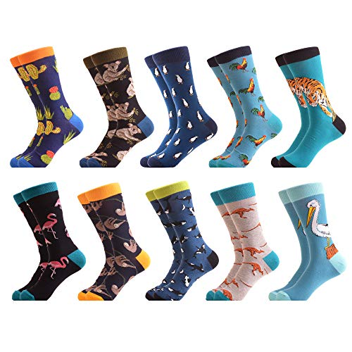 WeciBor Men's Funny Animal Pattern Tiger Koala Casual Combed Cotton Crew Socks 12 Packs - Funky Print Dress